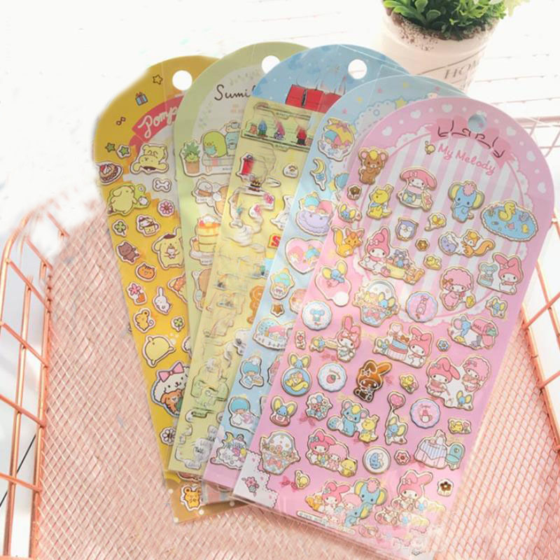 1pc Cute Corner Creature Bronzing Sticker Melody Pudding Cinnamoroll Dog Diary Label Stickers Scrapbooking DIY Stickers Toy Gift