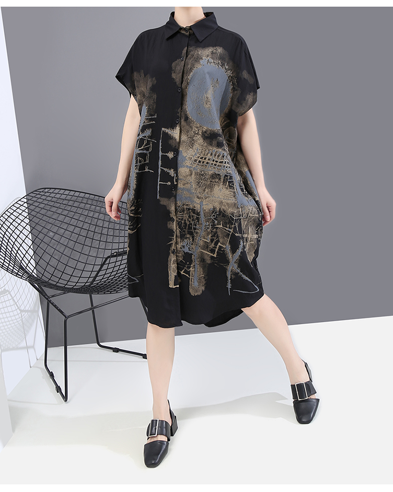 New Fashion Painted Style Black Vintage Shirt Dress