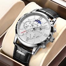 2021 LIGE mężczyźni zegarki marki luksusowe czarne skórzane wodoodporne sportowe kwarcowy z chronografem zegarek wojskowy mężczyźni zegar Relogio Masculino tanie tanio 24cm Moda casual QUARTZ 3Bar Sprzączka CN (pochodzenie) STAINLESS STEEL 11 5mm Hardlex Kwarcowe zegarki Papier 43mm man watch 8932