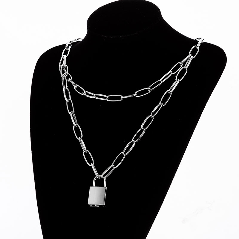 H323fbcbdbdf644d69a13c523159a8204T - KMVEXO Multilayer Lock Chain Necklace Punk Padlock Key Pendant Necklace Women Girl Fashion Gothic Party Jewelry