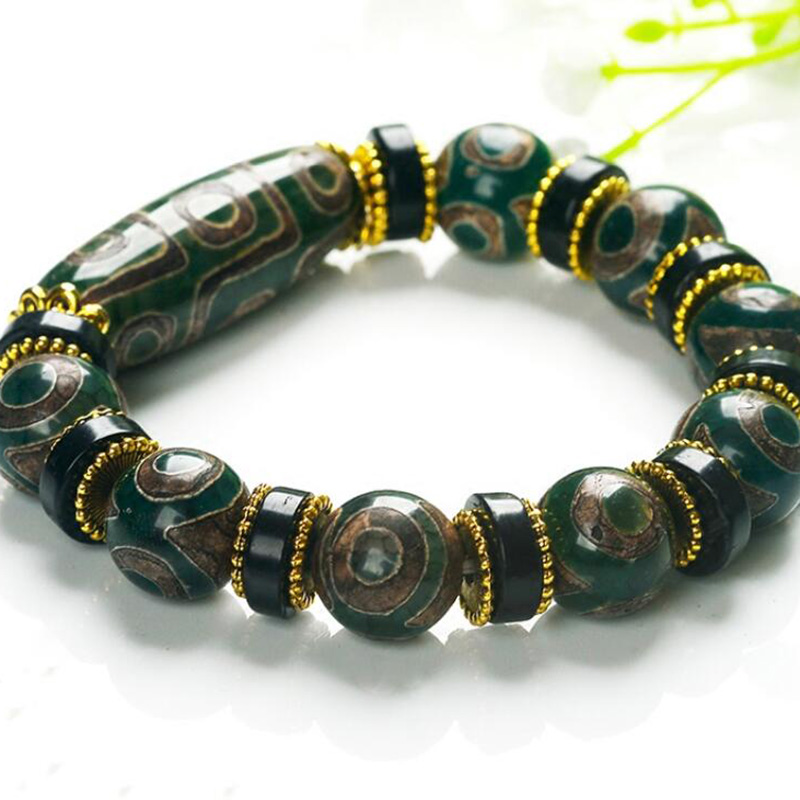 New Selling Men Women's Nine-Eye Jade Bracelet Natural Chalcedony Hand String Ethnic Style Tibetan Restoration Jewelry Gifts