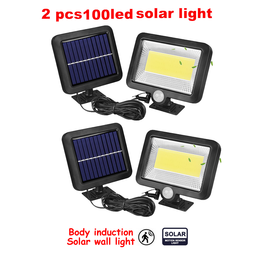 2/4pcs Solar Power 100/56/30 Led Solar Light PIR Motion Sensor 7 Mode White Wall Garden Light LED Street Lamp With Remote Contro