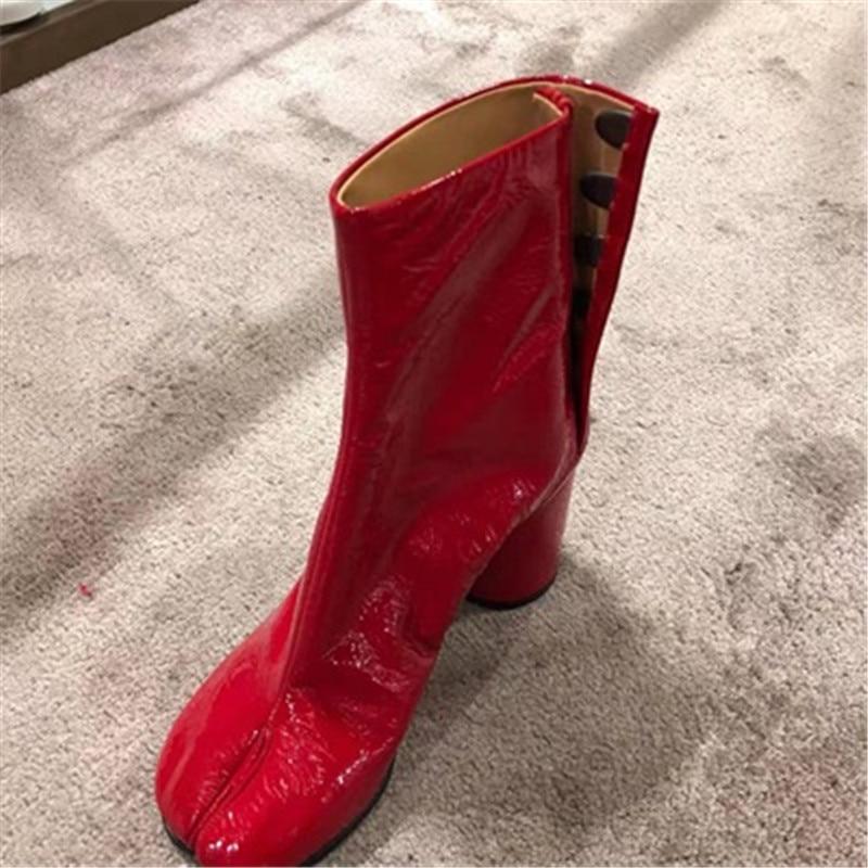Women's Ladies Real Leather Ta bi Split Toe Clip Flat Ankle B oots Shoes Fashion