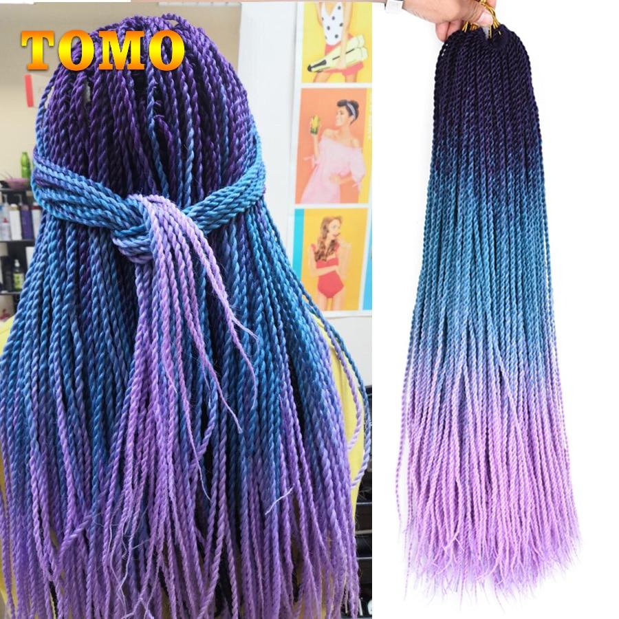 TOMO 24 дюйма 30 корней маленькие косички для вязания крючком волосы Сенегальский твист Омбре синтетические цветные плетеные волосы для наращи...