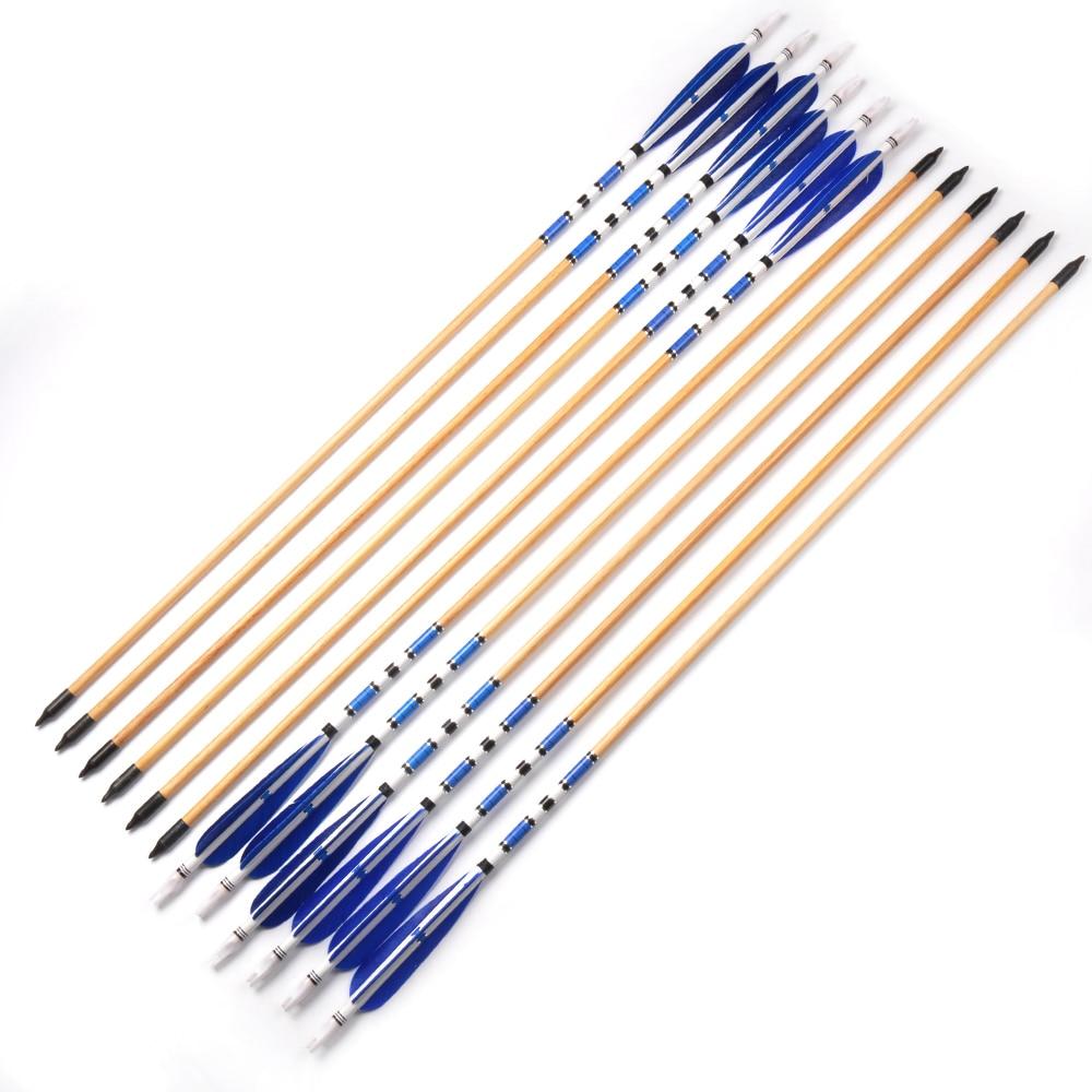 6 12 24 pcs 78 centimetros broadheads tiro com arco azul pena preta com a tradicional