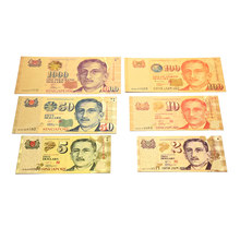 6 unids/lote colección de billetes de papel de oro de colores, 2 $5 $10 $50 $100 $1000, regalos y recuerdos, decoraciones para el hogar