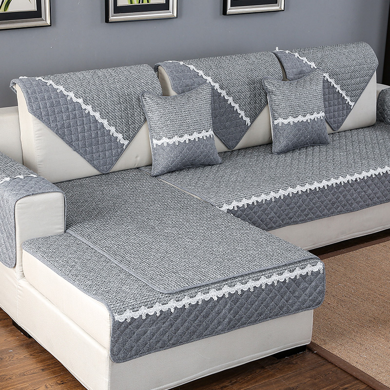 Solid Color Sofa Cover Sofa Towel Cushion Cotton Linen Fabric Couch case for Different Shape Sofa Set,A,45x45cm
