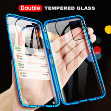 Metal Magnetic Double Side Glass Phone Case For Huawei P40 P30 P20 Mate 20 30 Pro Phone Cover For Huawei P20 P30 Lite Flip Case