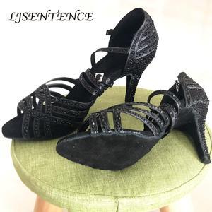 Social Party Ballroom Latin Dance Shoes Black Heels Salsa Bachata Kizomba Rumba Dancing Training Women 2inch 3.5inch Sandals(China)