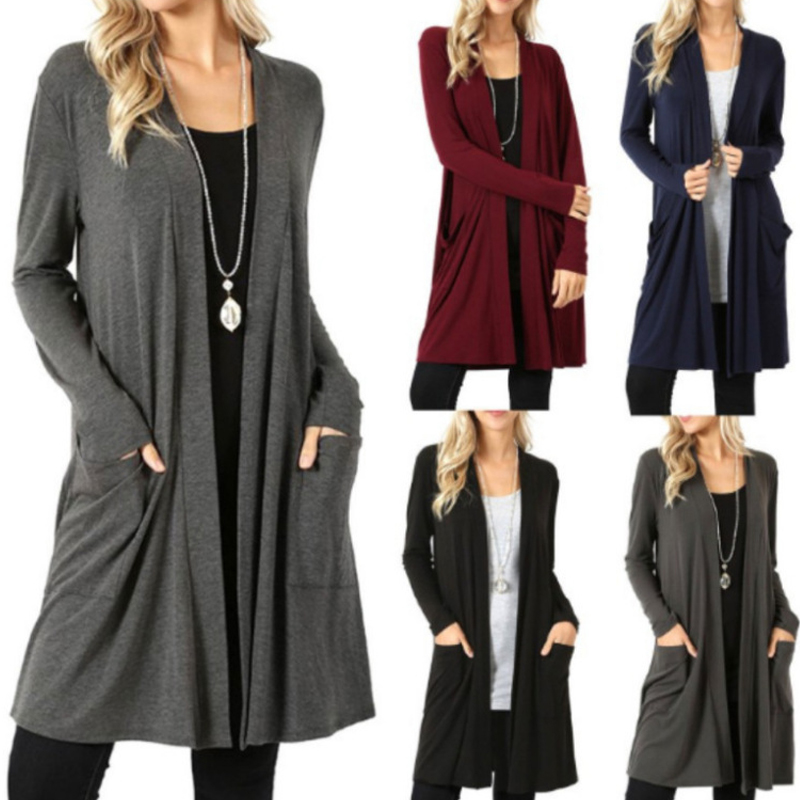 Solid Cardigan  Middle Length Women's Autumn Long Sleeved Thin Loose Coats Outwear Pocket Women's Cardigan Long 1