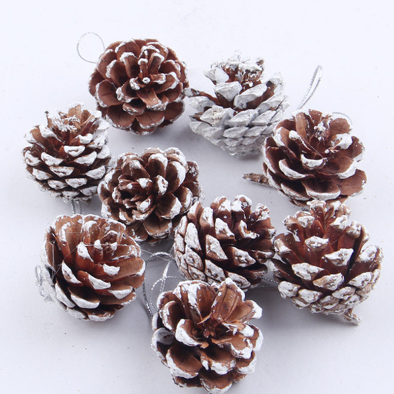 9pcs New Year 2021 Natural Pine Cones Pinecone Bauble Crafts Christmas Tree Decorations for Home Navidad 2020 Hanging Ornaments