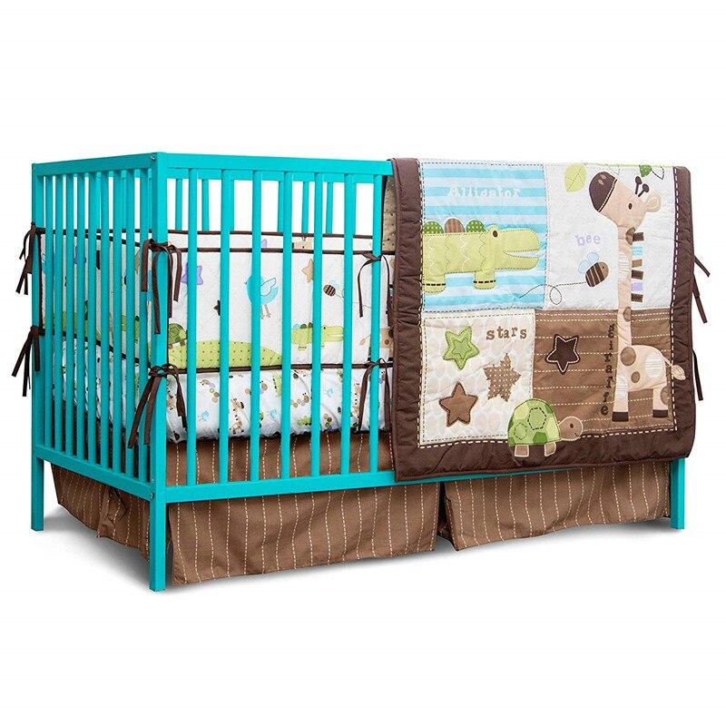 7PCS Unisex Crib Bedding Set Nursery Bedding Set Crib Protector for Girls boys ,(4bumper+duvet+bed cover+bed skirt)