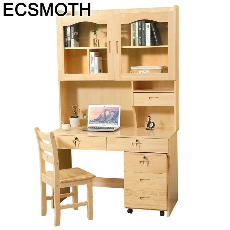 Office Desk Tafelkleed Small Scrivania Escritorio De Oficina Retro Wood Laptop Stand Tablo Mesa Computer Table With Bookshelf