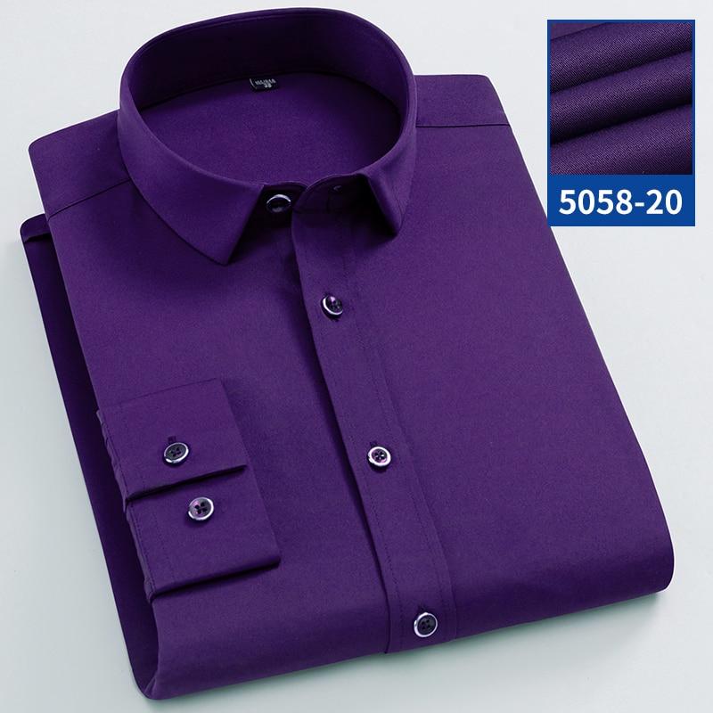 Formal Men Shirt Long Sleeve Elastic Solid Casual Designer Smart Shirts Stretch Solid Slim Fit Camisas Social Purple Male Blouse