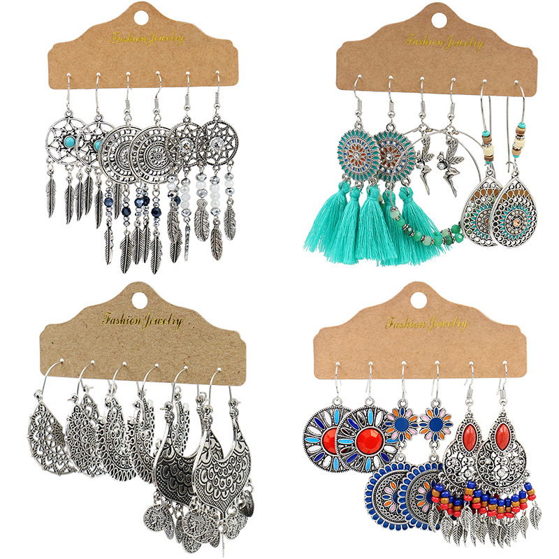 Vintage Big Round Multicolor Beaded Earrings Set for Woman Ethnic Boho Tassel Feather Long Dreamcatcher Drop Earrings Jewelry(China)