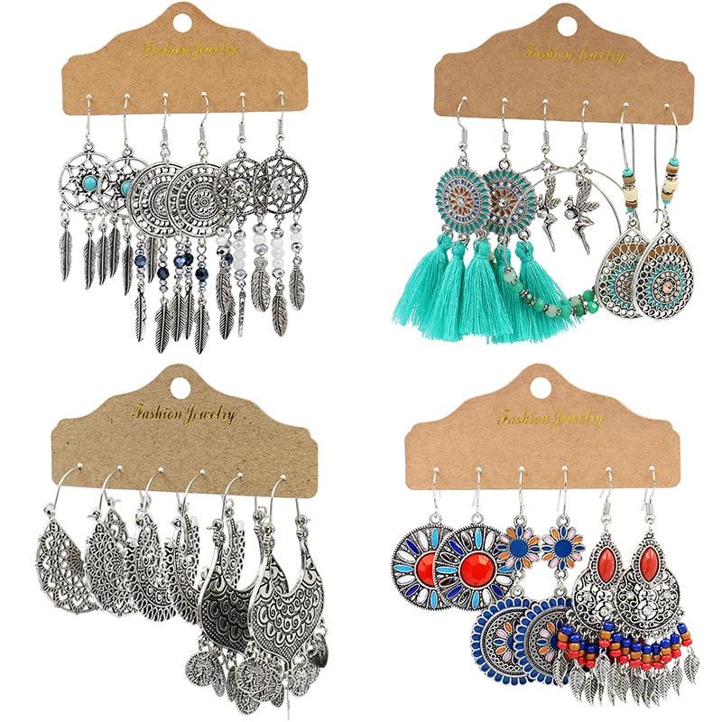 Vintage Big Round Multicolor Beaded Earrings Set for Woman Ethnic Boho Tassel Feather Long Dreamcatcher Drop Earrings Jewelry