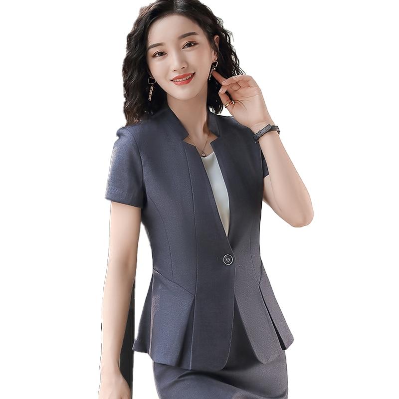 2020 New Female Elegant Formal Office Work Wear Summer Fashion Ladies Black Blazer Women Jackets Short Sleeve Clothes OL Styles