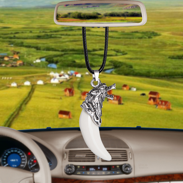 Car Pendant Simulation Wolf tooth Cars Rearview Mirror Decoration Auto Hanging Ornament Interior Accessories Gifts Car styling