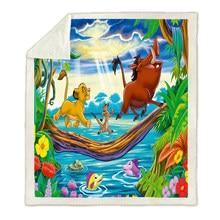 Leão dos desenhos animados rei simba personagem engraçado cobertor 3d impressão sherpa velo cobertor thows na cama sofá têxteis para casa 150*200cm meninos
