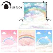 Allenjoy fotografia pano de fundo arco íris nuvem céu fundo criança recém nascido photobooth photocall photo studio shoot adereços novo