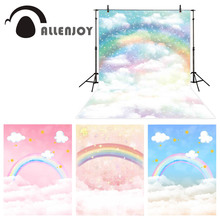 Allenjoy photography backdrop rainbow cloud sky background child newborn baby photobooth photocall photo studio shoot props new