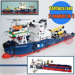 Image 2 - Nowy 2 w 1 Transformable Technic Ship Fit Technic statek łódź helikopter miasto samolot klocki budowlane zabawki Kid