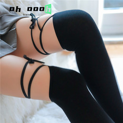 Personality Woman Cross Bandage Knee High Socks Japanese Cute Lolita Thigh High Stockings Girl Kawaii Socks Over Knee Long Socks