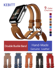 цены High Quality Leather Loop for iWatch 3 38mm 42mm Sports Strap Double Buckle Cuff for Apple Watch 40mm 44mm Series 4 3 2 1