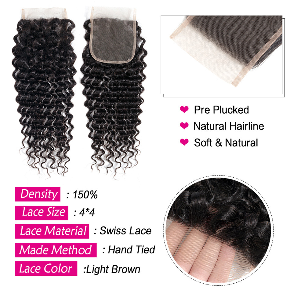 30 Inch Kinky Curly Hair Bundles With Closure Human Hair Weave Bundles With Closure Peruvian Natural Non Remy Hair Extension