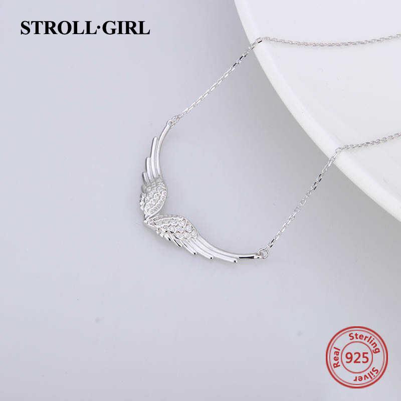 Berjalan-jalan Baru 925 Sterling Silver Sayap Malaikat Kalung Bulu Rantai DIY Kerajinan Fashion Perhiasan untuk Wanita 2019 Hadiah Pernikahan