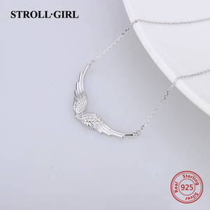 Image 3 - StrollGirl 천사 목걸이 깃털 체인의 새로운 925 스털링 실버 날개 여성을위한 diy 공예 패션 쥬얼리 2019 결혼 선물