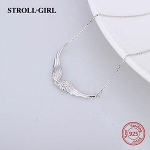Image 3 - StrollGirl Nuovo 925 In argento Sterling ala di angelo della collana della catena della piuma del mestiere di diy dei monili di modo per Le Donne 2019 regali di Nozze