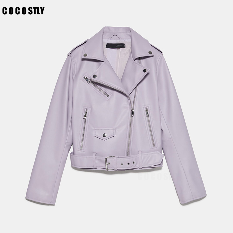 2021 Autumn Winter With Sashes Pu Faux Leather Jacket Women White Black Zipper Slim Short Biker Jackets Coat Female Outwear Tops