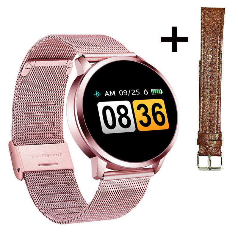 Smart Uhr Oled Smartwatch Feminine Mode Fitness Tracker Rosa Q8 Plus Armband Elektronische Leben Wasserdicht Alle Kompatibel 240