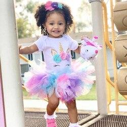 Vestido de princesa para meninas, vestido de 1 ano de aniversário para crianças pequenas, roupas de festa para batizado com unicórnio