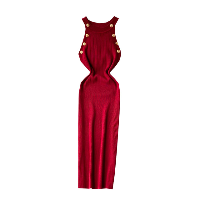 ALPHALMODA 2020 Summer Women Fashion Buttons Knit Dress Sleeveless Pullovers Ladies Slim Solid Knitting Dress 6