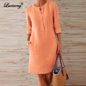 LUEISENY Spring Cotton Linen Dress 2020 Fashion Button O-Neck Party Dresses Women Long Sleeve Pocket Solid Vestidos Plus Size