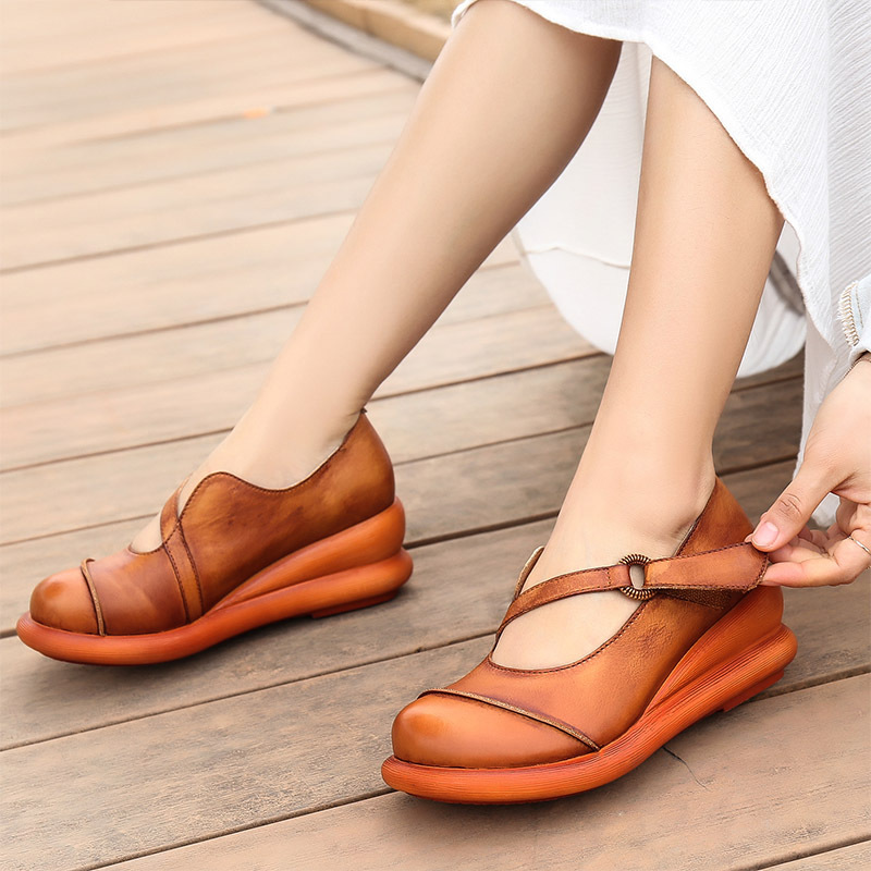 VALLU 2020 spring thick bottom leather round head women's shoes national style retro muffin shoes shoes