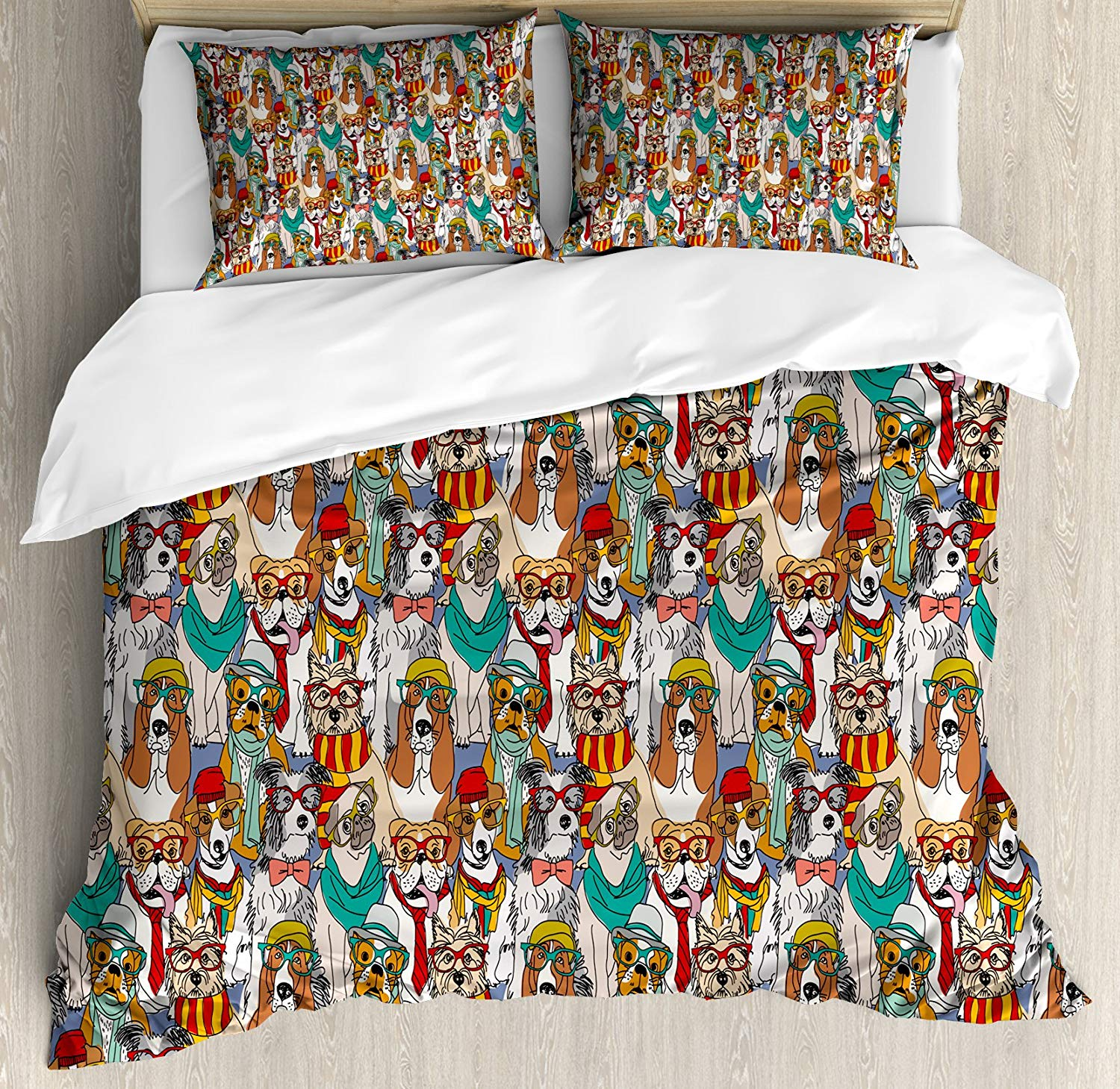 Dog Duvet Cover Set Hipster Bulldog Schnauzer Pug Breeds with Glasses Hats Scarf Pattern Colorful Cartoon Decorative 3 Piece Bed|Duvet Cover| |  - title=