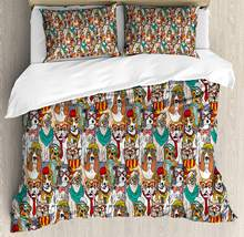 Dog Duvet Cover Set Hipster Bulldog Schnauzer Pug Breeds with Glasses Hats Scarf Pattern Colorful Cartoon Decorative 3 Piece Bed(China)