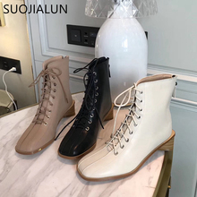 SUOJIALUN 2019 New Brand Round Toe Ankle Boots For Women European Style Zip Boots Classic Lace Up Female Causal Boots цены онлайн