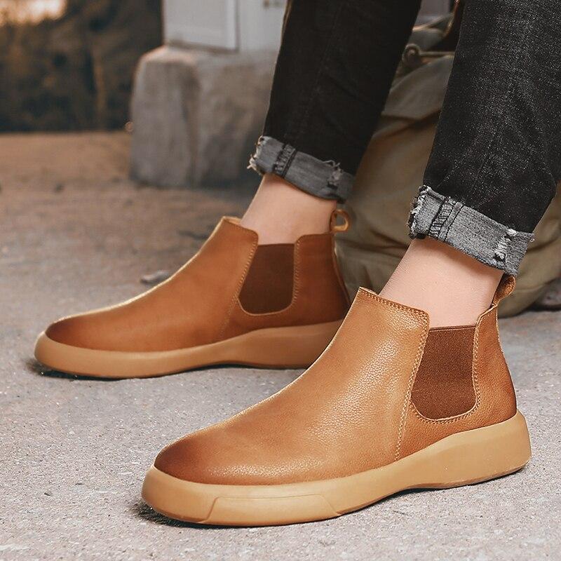 Новинка; Мужская Осенняя обувь; Ботинки «Челси»; Обувь из коровьей кожи; Мужские ботильоны высокого качества; Мужская повседневная обувь без шнуровки; Chausure|Ботинки челси|   | АлиЭкспресс
