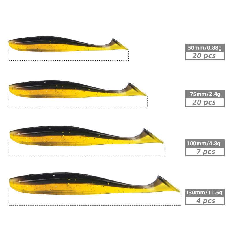 Leurres de pêche Meredith Easy Shiner 50mm 75mm 100mm 130mm Wobblers leurres souples de pêche à la carpe appâts artificiels en Silicone Double couleur