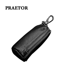 Marke Männer Echtes Leder Retro Auto Schlüssel Keeper Halter Dame Kuh Leder Mode Zipper Key Wallets cheap PRAETOR Echtem Leder Unisex Brieftasche