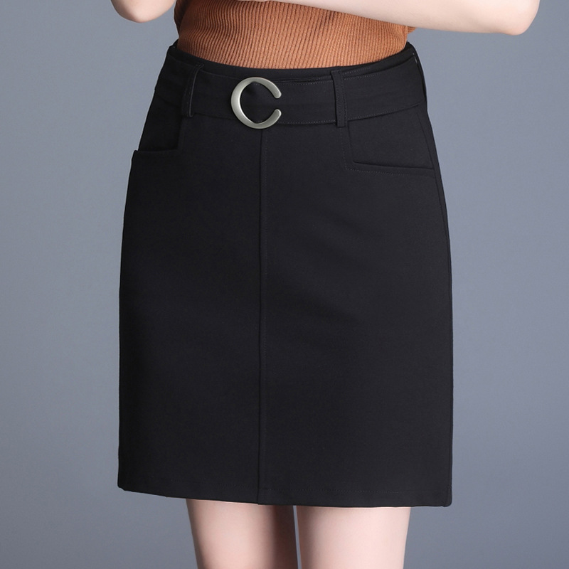 Skirt Straight-Cut Skirt Mid-length Women's Autumn And Winter 2019 High-waisted Belly Holding Slimming Workwear Business One-ste