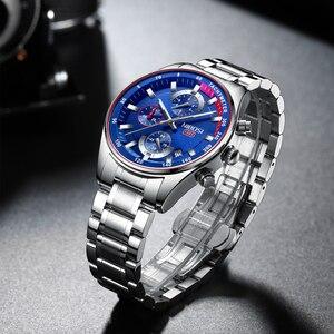 Image 3 - NIBOSI hommes montres haut de gamme Sport Quartz chronographe acier mâle horloge militaire étanche chronographe Relogio Masculino