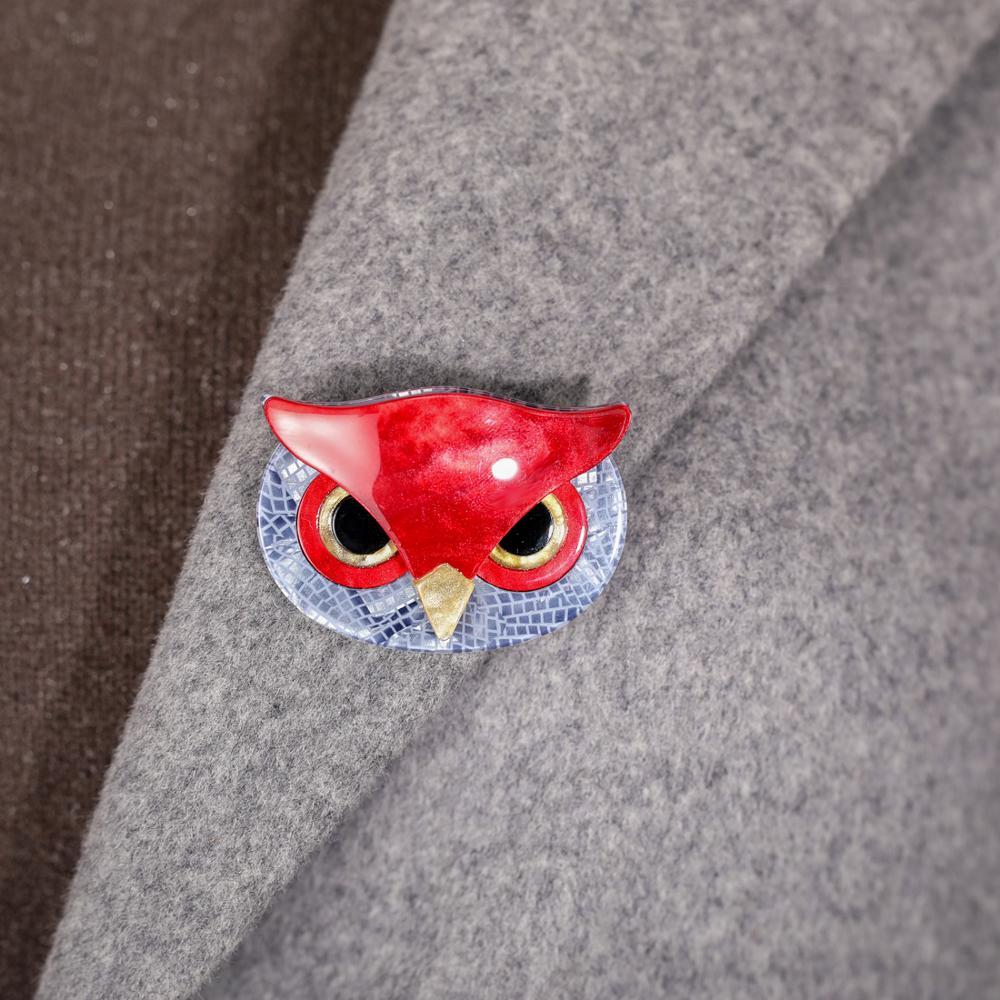 Owl/'s Face Lapel Pin Badge