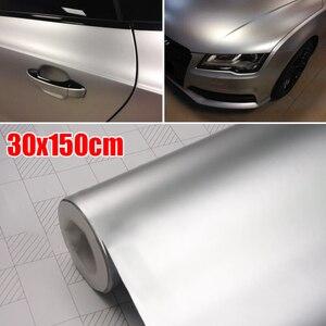 Image 2 - Auto zubehör 30*150CM Satin Matte Chrome Metallic Silber Vinyl Film Wrap Aufkleber Blase Freies