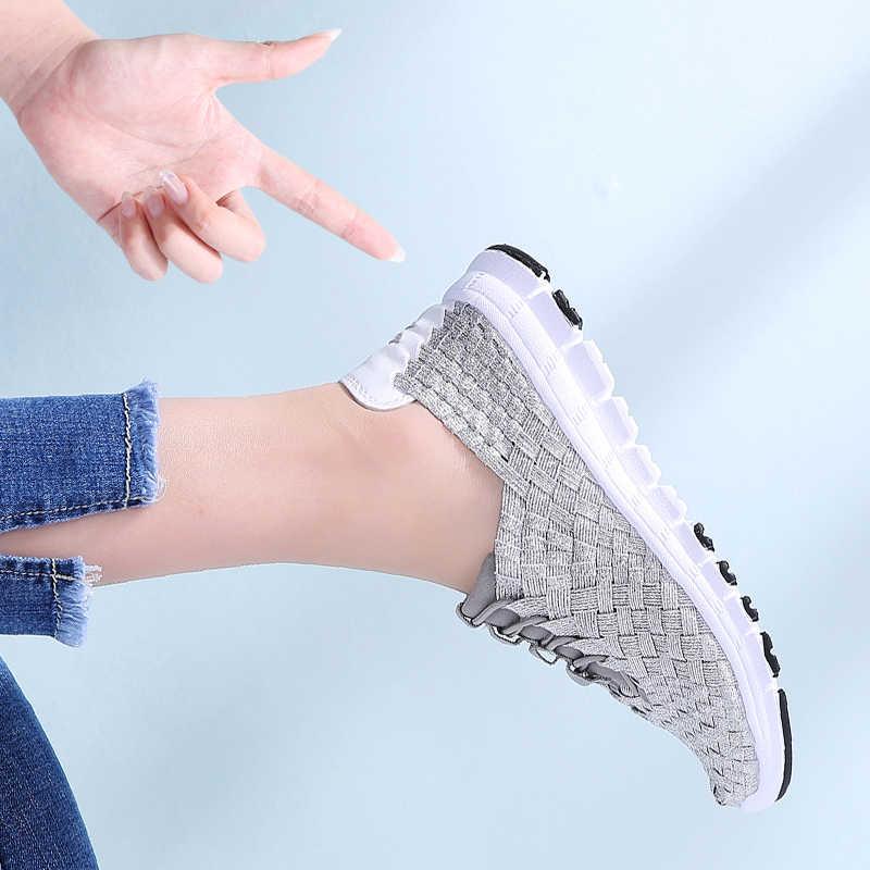 2020 Lente Vrouwen Casual Geweven Sneakers Schoenen Vrouwen Flats Geweven Schoenen Dames Instappers Schoenen Platte Weave Lace Up Wandelschoenen 1655