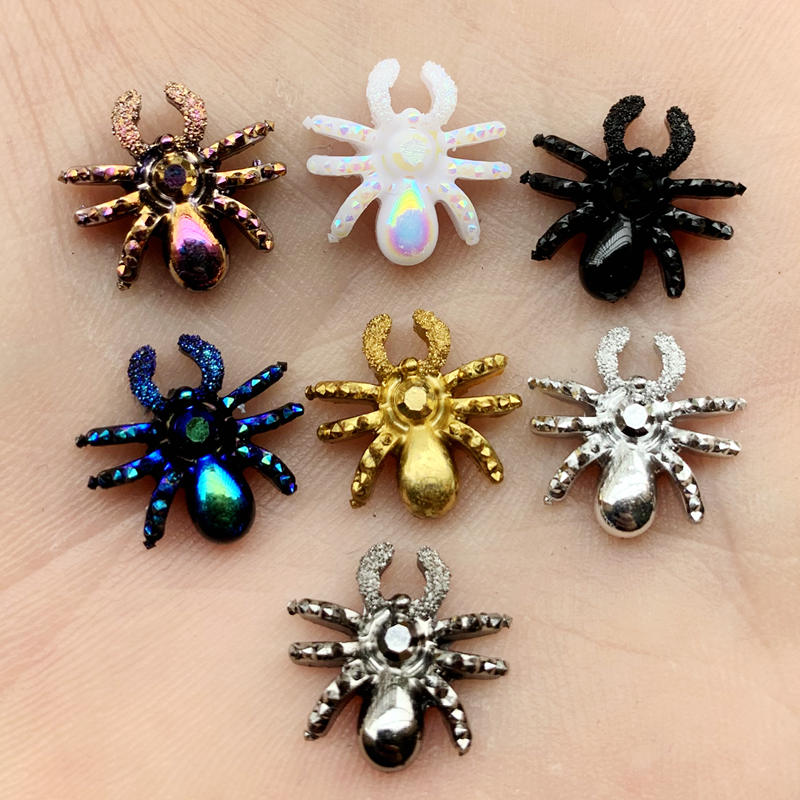 30pcs Glitter Gold &silver &Golden Rose Spider 3d Charms Jewelry Resin DIY Decorations Stickers Earrings